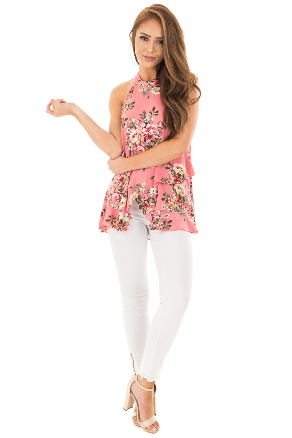 Punch Pink Floral Print High Neck Tank Top front full body