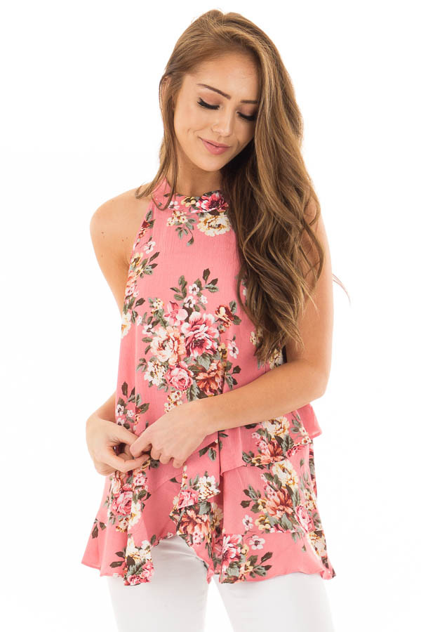 Punch Pink Floral Print High Neck Tank Top front close up