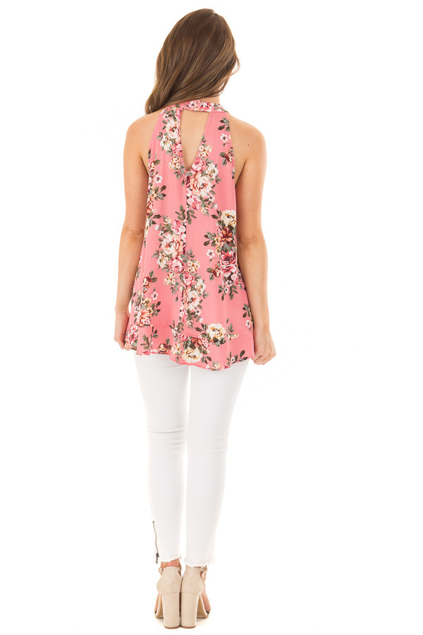 Punch Pink Floral Print High Neck Tank Top back full body