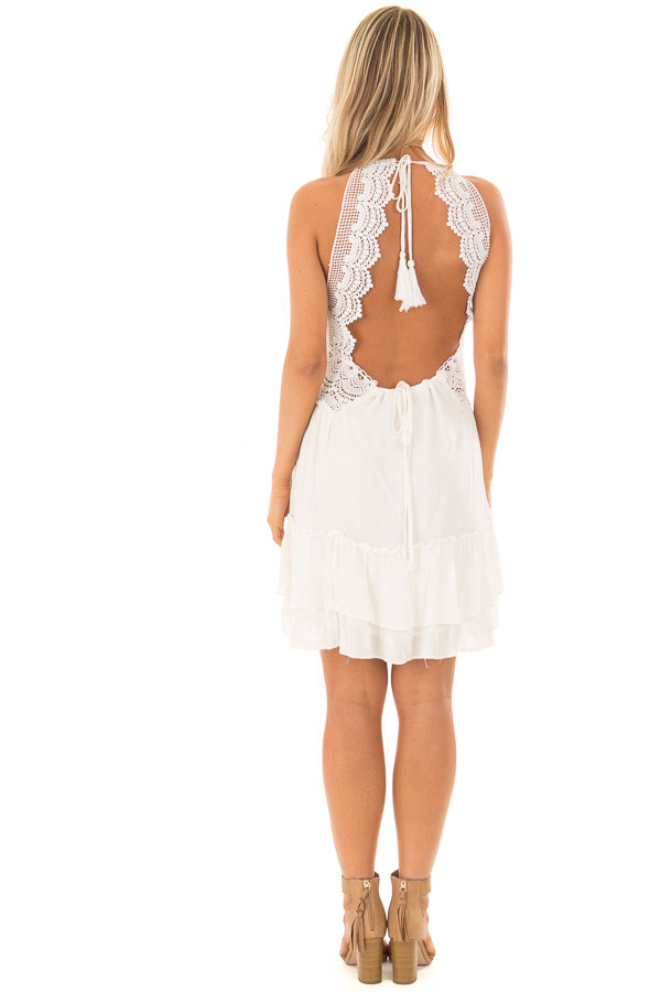 Off White Crochet Lace Halter Dress with Ruffle Detail back full body
