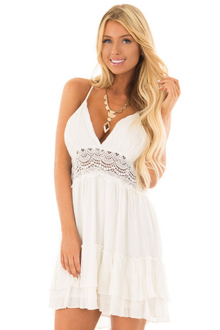 Off White Crochet Lace Halter Dress with Ruffle Detail front close up