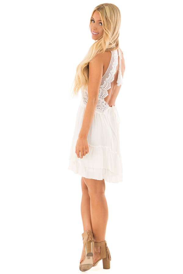 Off White Crochet Lace Halter Dress with Ruffle Detail back side full body