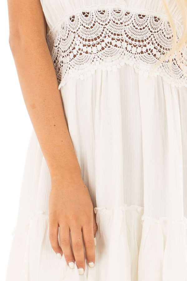 Off White Crochet Lace Halter Dress with Ruffle Detail detail