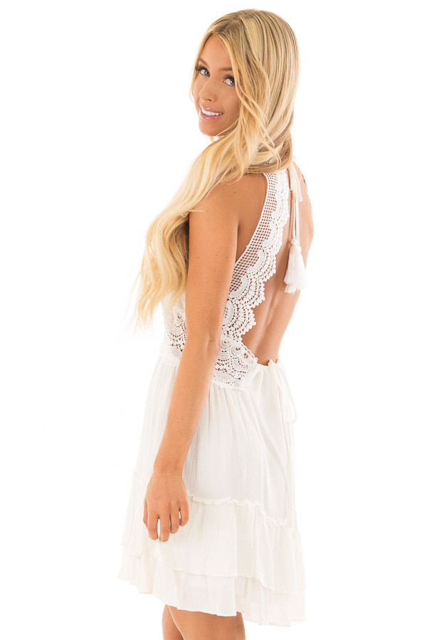 Off White Crochet Lace Halter Dress with Ruffle Detail back side close up