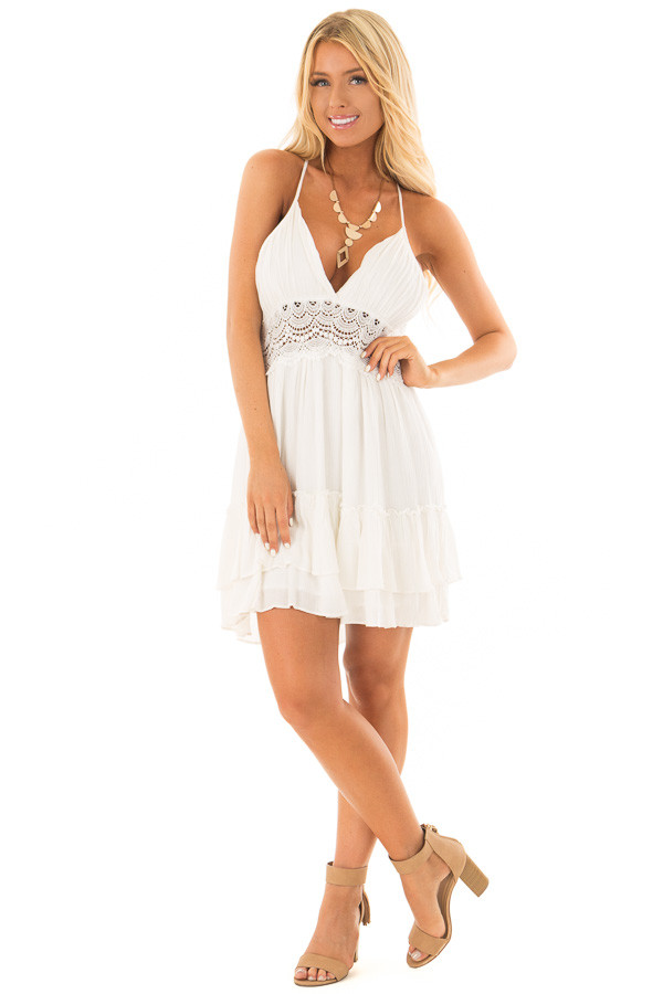Off White Crochet Lace Halter Dress with Ruffle Detail front full body