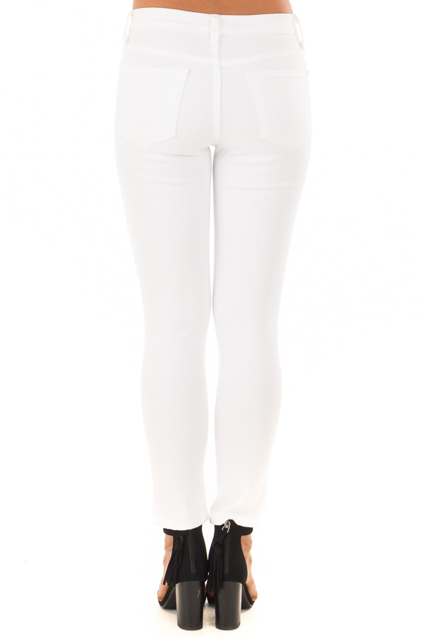 White Mid Rise Cropped Skinny Jeans with Front Seam and Slit back view
