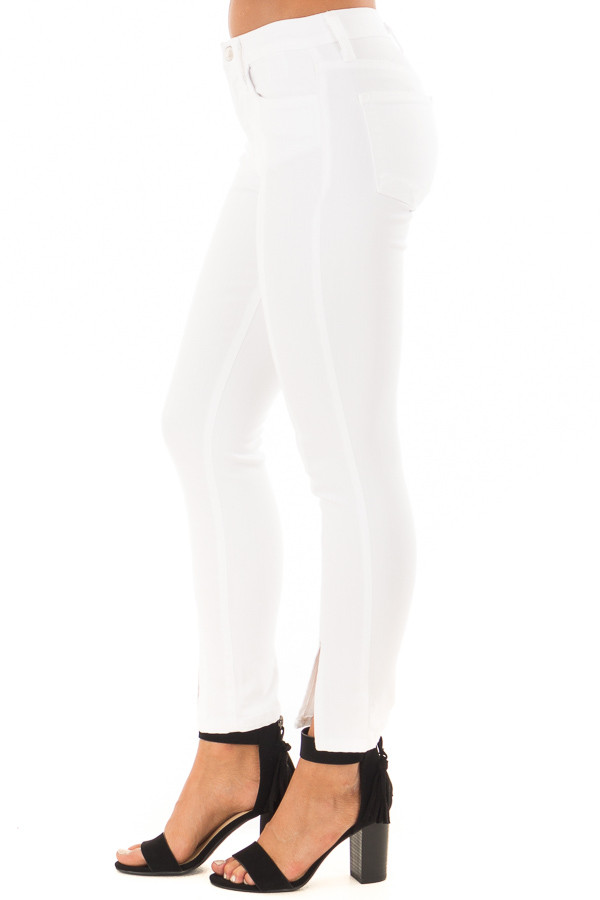 White Mid Rise Cropped Skinny Jeans with Front Seam and Slit side view