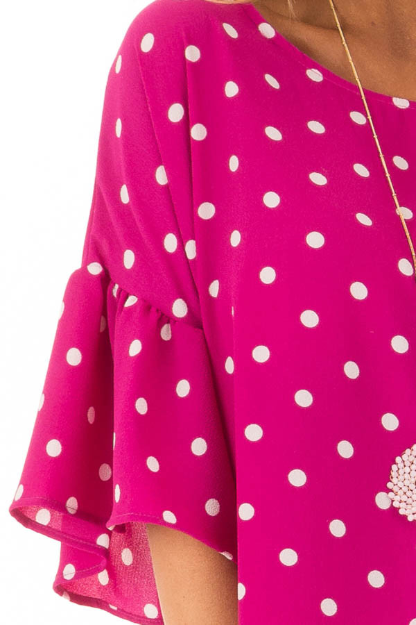 Fuchsia Polka Dot Blouse with Bell Sleeves detail