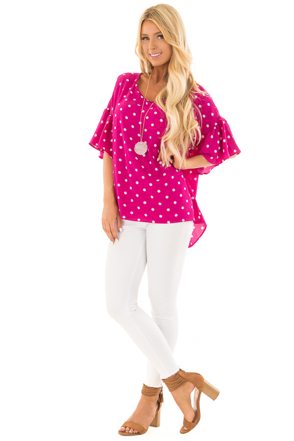 Fuchsia Polka Dot Blouse with Bell Sleeves front full body