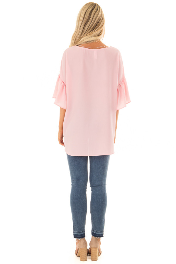 Pastel Pink Bell Sleeve Top back full body