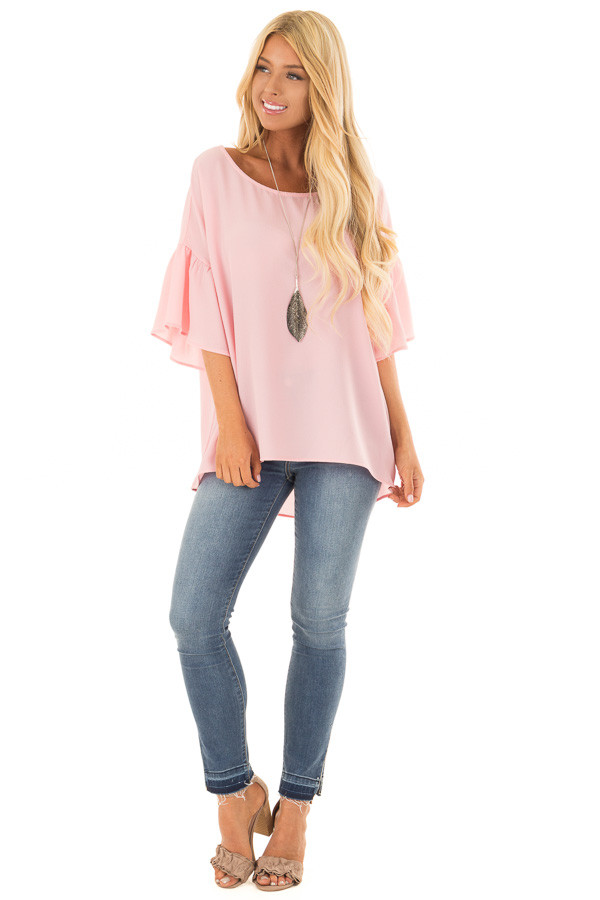 Pastel Pink Bell Sleeve Top front full body