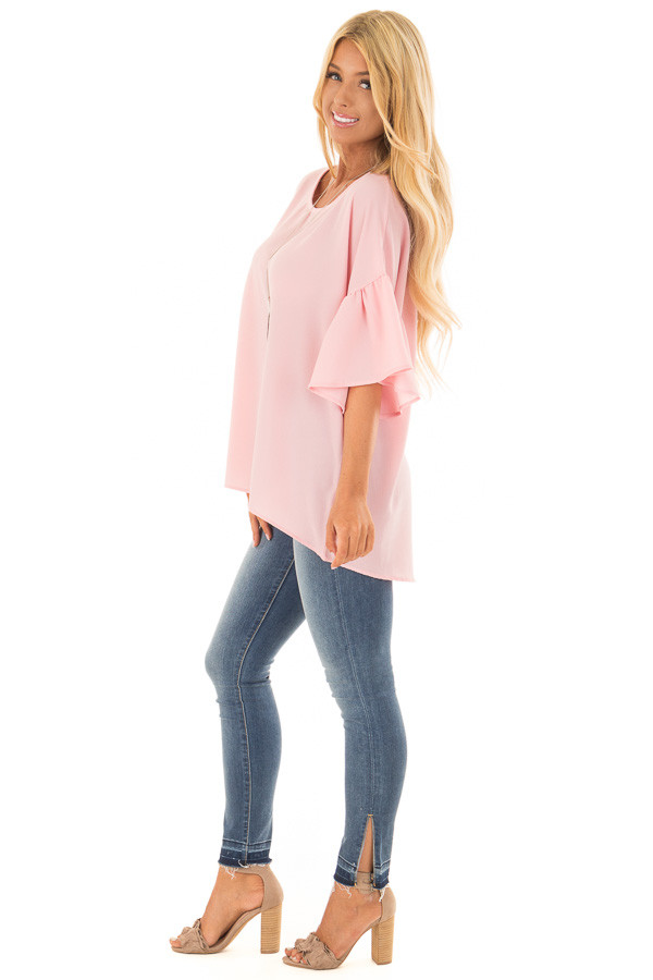 Pastel Pink Bell Sleeve Top side full body