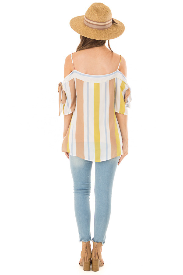 Mustard and Cocoa Striped Top with Tie Sleeves back full body