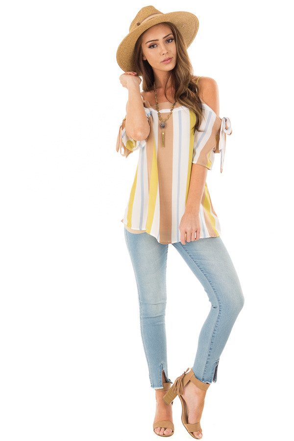 Mustard and Cocoa Striped Top with Tie Sleeves front full body