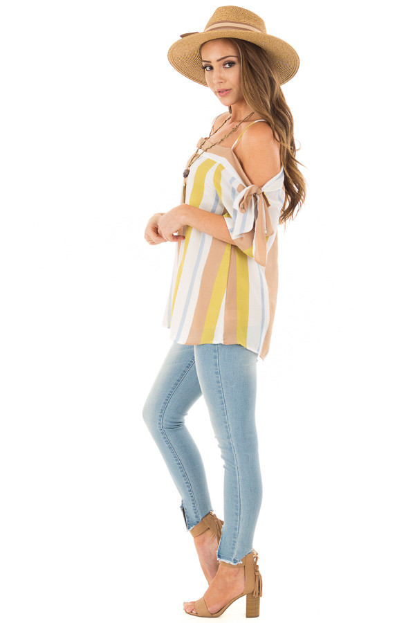 Mustard and Cocoa Striped Top with Tie Sleeves side full body