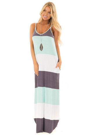Mint and Charcoal Striped Maxi Dress with Hidden Pockets front full body