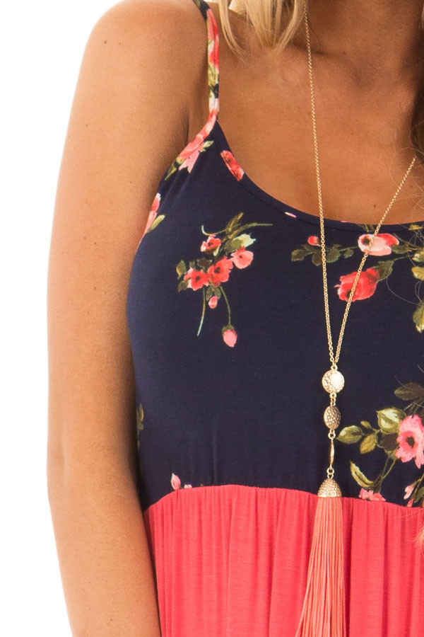Salmon Maxi Dress with Navy Floral Print Contrast detail