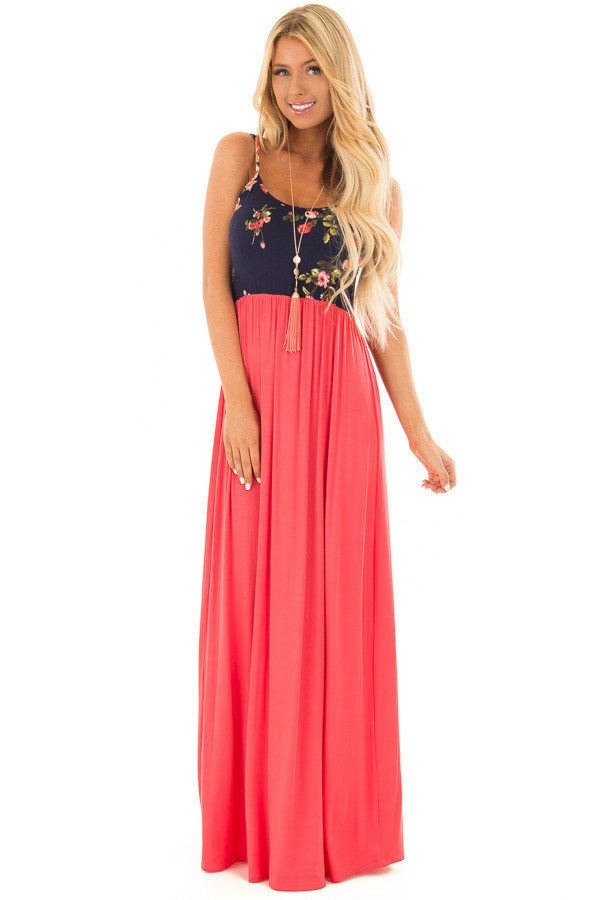 Salmon Maxi Dress with Navy Floral Print Contrast front full body