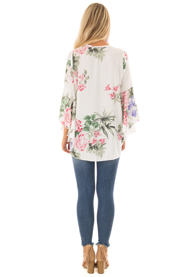 Ivory Floral Fold Over Surplice Top with Bell Sleeves back full body
