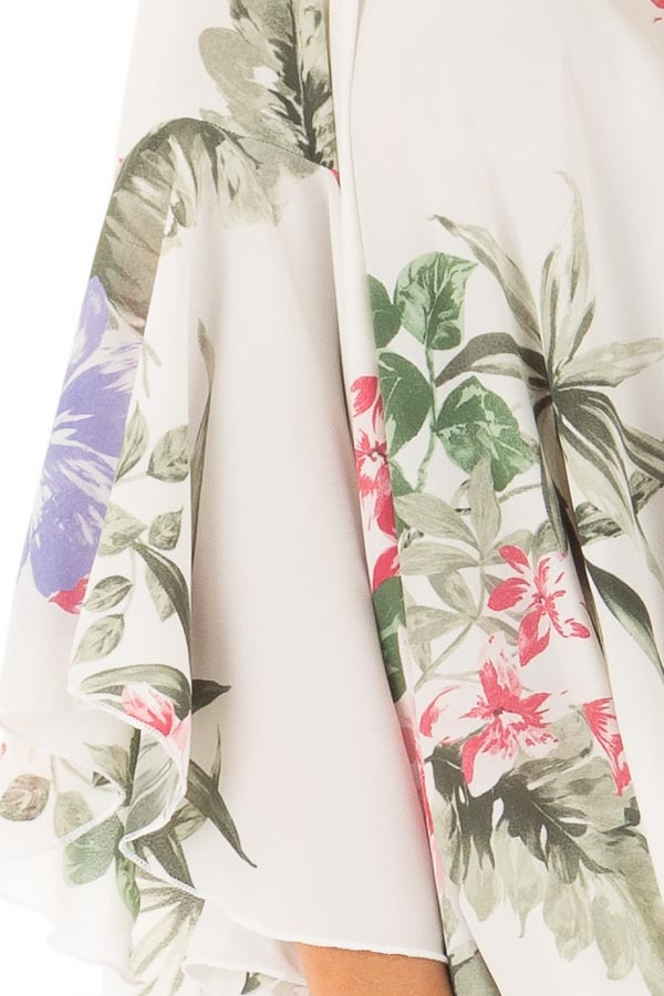 Ivory Floral Fold Over Surplice Top with Bell Sleeves detail