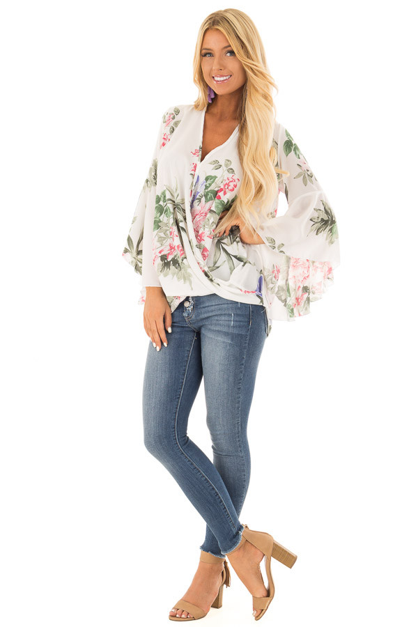 Ivory Floral Fold Over Surplice Top with Bell Sleeves front full body