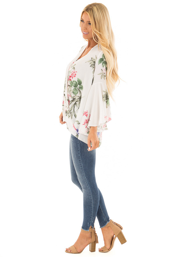 Ivory Floral Fold Over Surplice Top with Bell Sleeves side full body