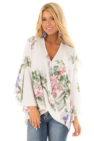 Ivory Floral Fold Over Surplice Top with Bell Sleeves front close up