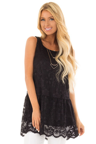 Black Lace Sleeveless Tunic with Scalloped Hem front close up