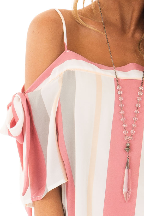 Rose and Heather Grey Striped Top with Tie Sleeves detail