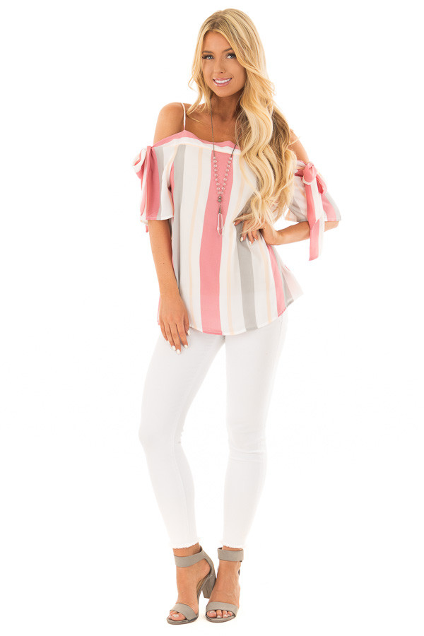 Rose and Heather Grey Striped Top with Tie Sleeves front full body