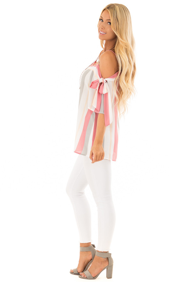 Rose and Heather Grey Striped Top with Tie Sleeves side full body