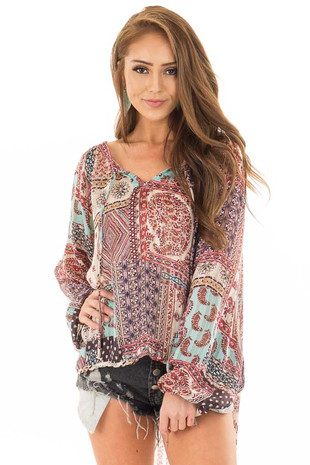 Burgundy Gypsy Paisley and Glitter Oversized Top front close up
