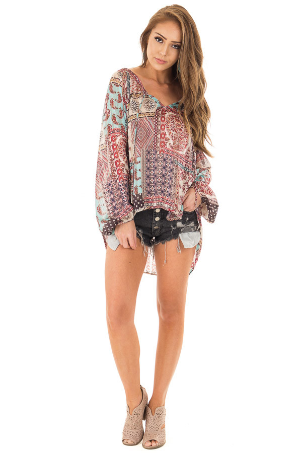 Burgundy Gypsy Paisley and Glitter Oversized Top front full body