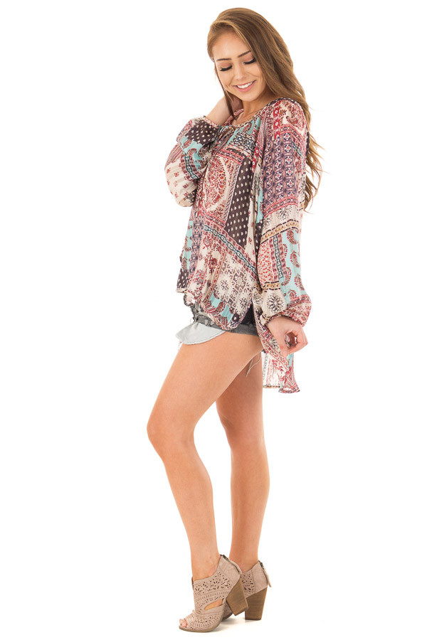 Burgundy Gypsy Paisley and Glitter Oversized Top side full body