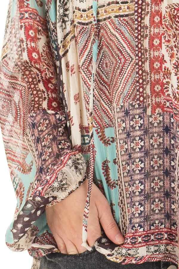 Burgundy Gypsy Paisley and Glitter Oversized Top detail