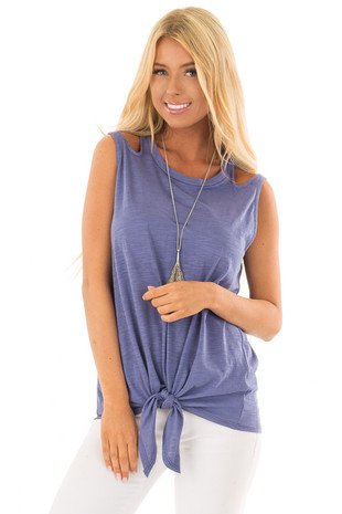 Indigo Tank Top With Double Straps and Tie Front front close up