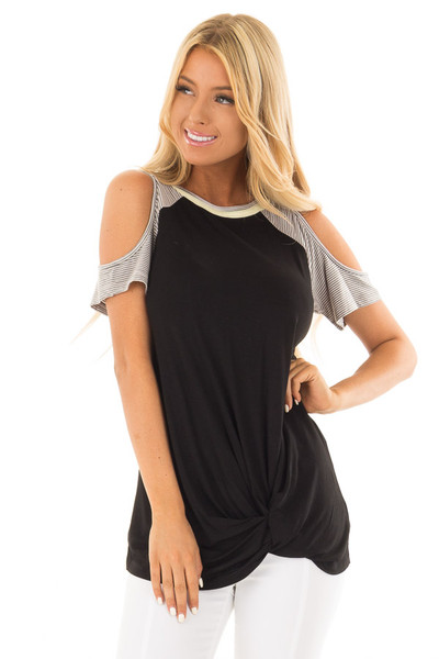 Black Cold Shoulder Top with Striped Sleeves and Front Twist front close up
