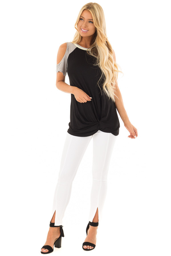 Black Cold Shoulder Top with Striped Sleeves and Front Twist front full body