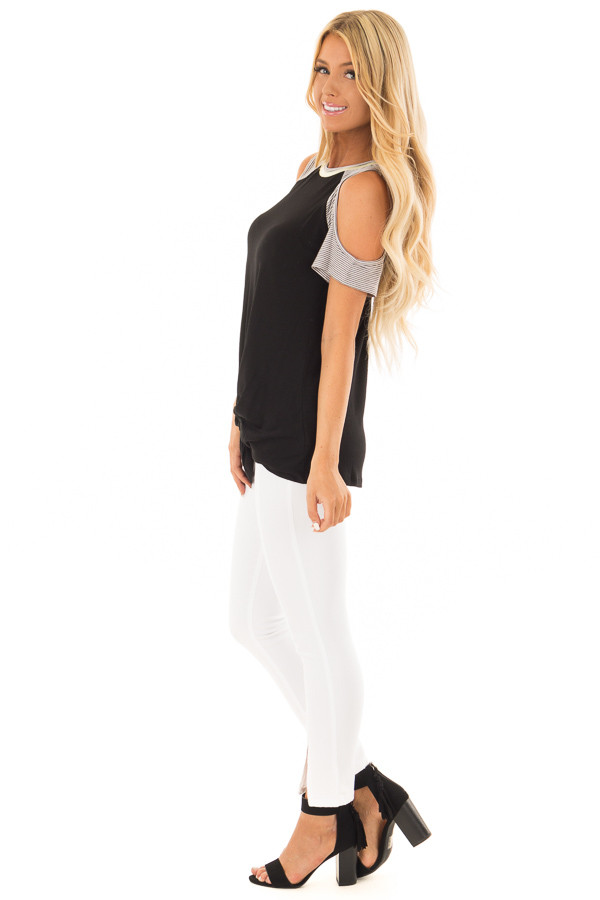 Black Cold Shoulder Top with Striped Sleeves and Front Twist side full body