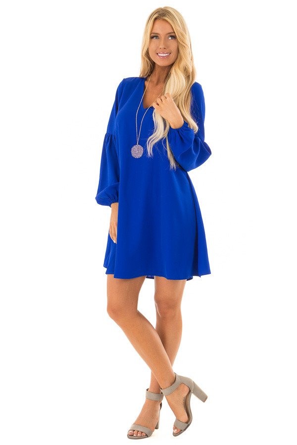 Royal Blue Long Sleeve Dress with V Neckline front full body