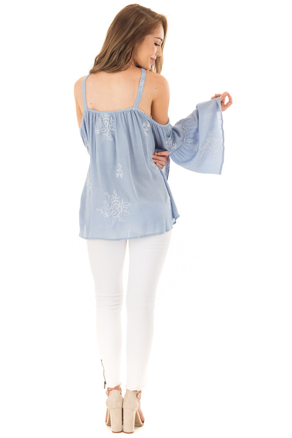 Light Blue Bell Sleeve Top with Floral Embroidery back full body