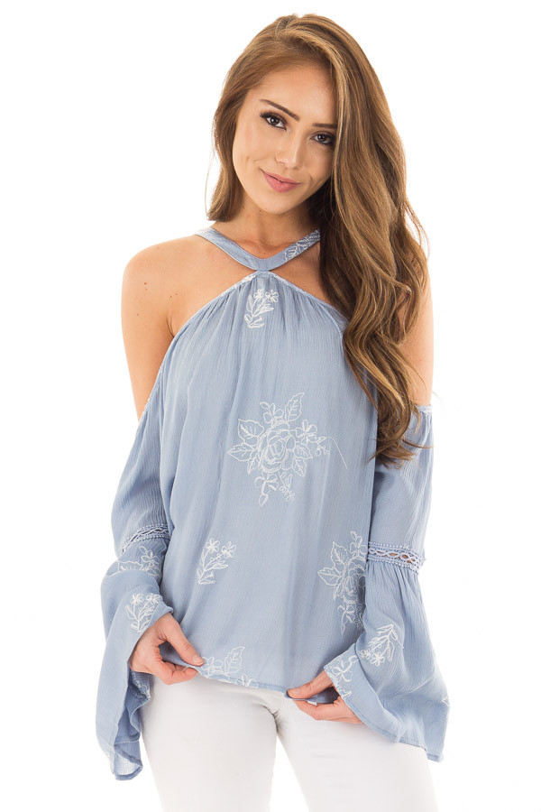 Light Blue Bell Sleeve Top with Floral Embroidery front close up
