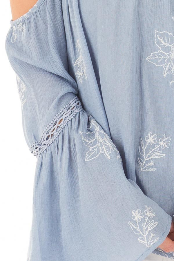Light Blue Bell Sleeve Top with Floral Embroidery detail