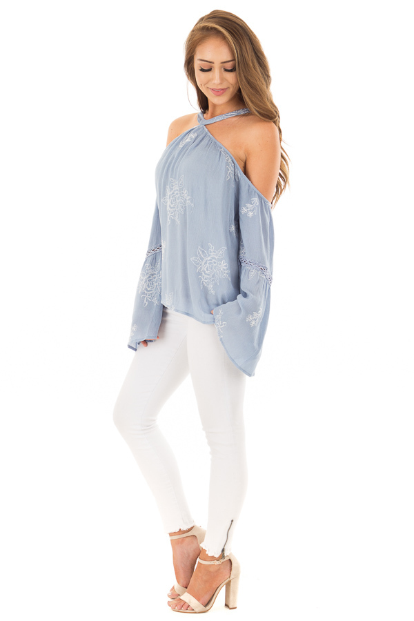 Light Blue Bell Sleeve Top with Floral Embroidery side full body