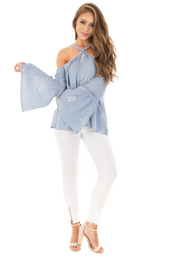Light Blue Bell Sleeve Top with Floral Embroidery front full body