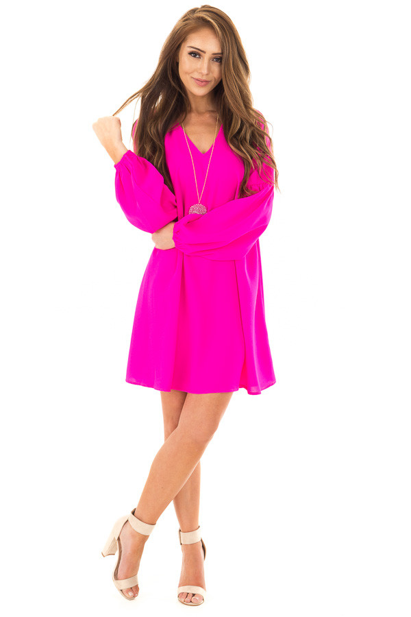 Hot Pink Long Sleeve Dress with V Neckline front full body
