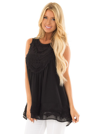 Black Sleeveless Chiffon Top with Crochet Details front close up