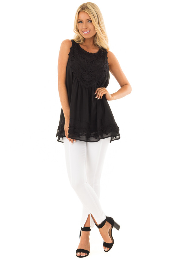Black Sleeveless Chiffon Top with Crochet Details front full body