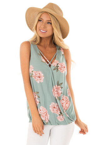 Dusty Teal Floral Print V Neck Tank Top front close up