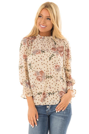 Tan Floral and Polka Dot High Neck Blouse with Long Sleeves front close up